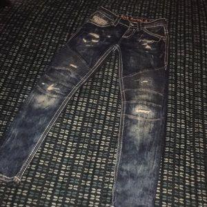 Moto Biker Rock Revival Jeans Blue